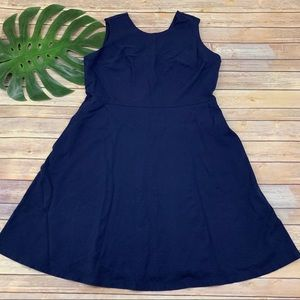 Lands End navy blue fit & flare dress with pockets